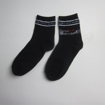 Men Black Jacquard Acrylic Short Socks