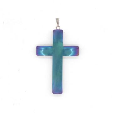 Wholesale Fashion Jewelry Ethnic Iridescent Hematite Cross Pendant with Toggle Clip