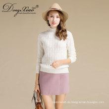 Frauen High Neck Übergroßer Pullover Cashmere Wool Christmas Sweater Großhändler Hersteller