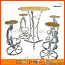 Rodada MDF e tubo de alumínio Bar Mesa mesa de bar para móveis de bar