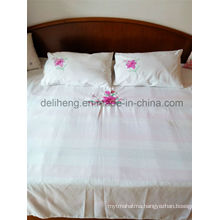 3PCS Embroidered 100% Microfiber Polyester Bleached White Bed Sheet Set