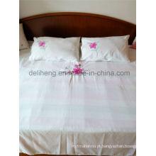 3PCS bordado 100% microfibra poliéster descorado branco conjunto de folhas de cama