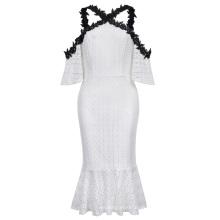 Kate Kasin Sexy Womens Half Sleeve Cold-Shoulders Hüfte eingewickeltes Meerjungfrau Weißes Spitzenkleid KK000683-1