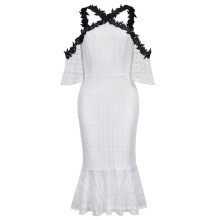 Kate Kasin Sexy Womens Half Sleeve Cold-Shoulders Hips Wrapped Mermaid White Lace Dress KK000683-1