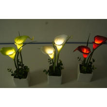 Mini Tulip LED Artificial Flowers with Ceramics Pot for Promotion