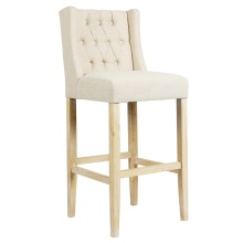 Restaurant High Back Side Solid Wood Bar Chairs