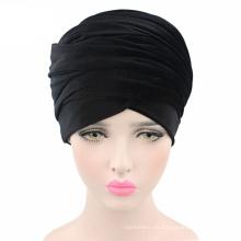 2017 venta caliente de terciopelo negro turbante sombrero de cola larga cabeza bufanda al por mayor bufanda hijab musulmán de las mujeres al por mayor