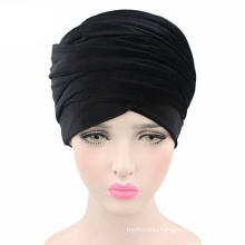 2017 Hot sale black velvet turban hat long tail cap head scarf wholesale women muslim hijab scarf