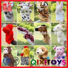 Marionnettes de main / doigt de peluche animaux faits sur commande bon marché, marionnette de main de peluche de forme animale