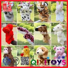 Custom cheap animal plush Hand/ finger Puppets,animal shape plush hand puppet
