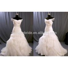 Aus der Schulter Rüschen Tüll Brautkleider gefaltet Applique Brautkleider