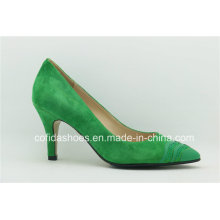 2016 New Green Sheepskin Comfort Low Heels Women Shoes