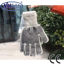 NMSAFETY Luvas de pulso tricotadas em lã com pontos de PVC preto