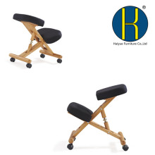 2017 Wooden Ergonomic Kneeling Chair in Black Fabirc and Natural Wood Frame