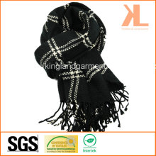100% Acrylic Fashion Black & White Checked Woven Scarf with Fringe