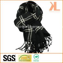 100% акриловый модный черный и белый проверенный сплетенный шарф с окантовкой