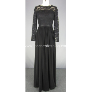 Elegant Ball Gown Long Sleeve Lace Prom Dress