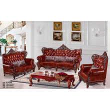 Red Wood New Classic Sofa, Antique Leather Sofa (B006)