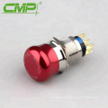 19mm Waterproof Aluminium Alloy Mushroom Emergency Stop Switch IP67