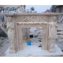 Statue Surface Carved Marble Fireplace (SY-MF013)