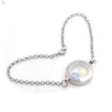 Top vendendo aço inoxidável memória medalhão pulseiras jóias com corrente