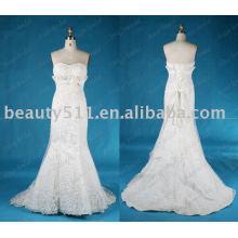 Novo design moda popular vestido de cetim beading casamento jL002