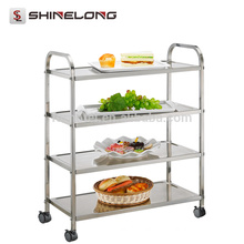 Hotel Restaurant 201/304 Style Food Stainless Steel Housekeeping/Kitchen Tool Trolley Cart