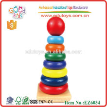 Kids Rainbow Wooden Stacker Tower Jouets Classiques