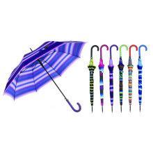 Streifen-Entwurf gerader automatischer Regenschirm mit Match-farbigem Griff (YS-SA23083926R)