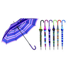 Strip Design Straight Automatic Umbrella with Match Colored Handle (YS-SA23083926R)