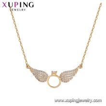 44220 gros nouvelle arrivée bijoux forme d'aile conception pendentif or 18 carats couleur environnement collier de cuivre avec pierre CZ pour les femmes