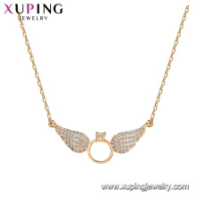 44220 wholesale new arrival jewelry wing shape design pendant 18k gold color environment copper necklace with CZ stone for women