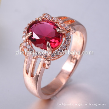 Cheap rose gold plating rhodium 925 silver ruby ring