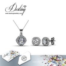 Destino joyería cristal de Swarovski Set pendientes y colgante Retro