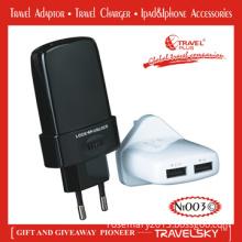 Dual USB Ports Electric Plug Adaptor for Travel