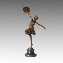 Bailarina Estatua Romana Escultura De Bronce Femenino TPE-464