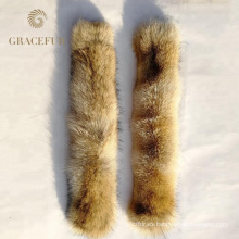 Collar verdadero de la piel del coyote del color natural de calidad superior del precio de fábrica para la capa