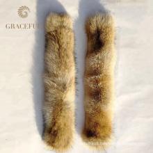 Preço de fábrica de Qualidade Superior de Cor Natural Real Coyote Gola De Pele Para O Casaco