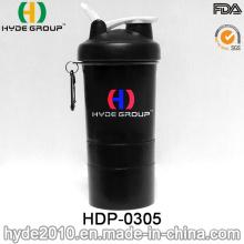 Botella plástica nuevamente portable de la agitación de la proteína del deporte 400ml (HDP-0305)