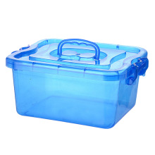 Modern Style Crystal Plastic Storage Box with Handle (SLSN068)