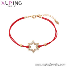 75548 Xuping Hot Sale popular Women gold plated original design red rope Star shape Bracelet