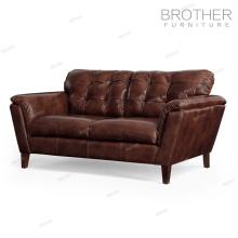 Mobilier de luxe de style américain classique salon brun canapé en cuir de deux sièges