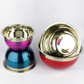 cheap color painted metal tableware stainless steel personalized salad bowl set
