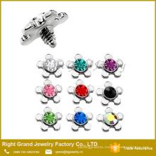316L Surgical Steel Crystal Flower Dermal Anchor Top