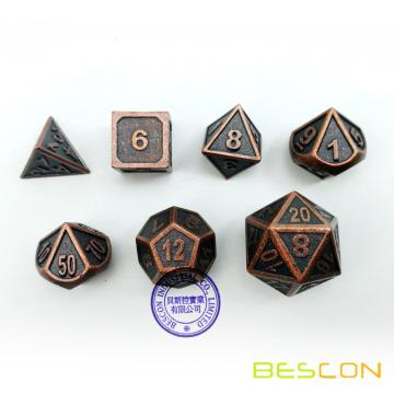 Bescon New Style Antique Copper Solid Metal Polyhedral Dice Set of 7 Copper Metallic RPG Role Playing Game Dice 7pcs Set D4-D20