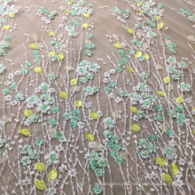 Green Beaded Wedding lace Handwork Fabric