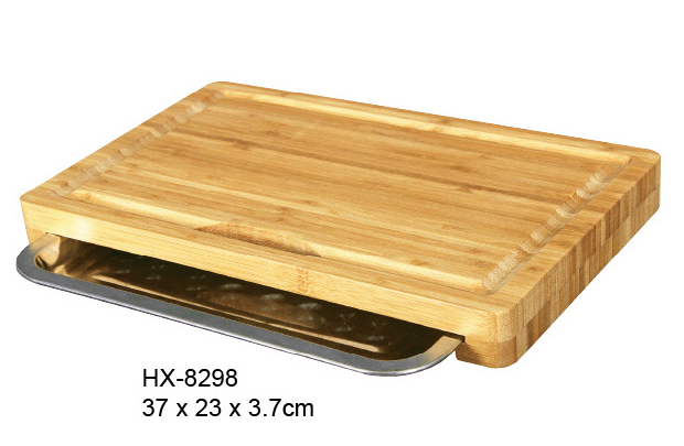bamboo cutting board with metal tray