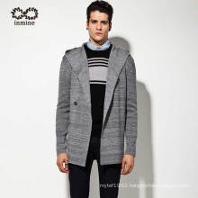 Wool Acrylic Men Hooded Cardigan Sweater Coat