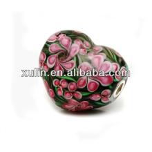 Blume Herz Formen Messing Überzug Silber Schmuck Murano Perlen