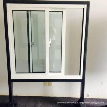 Vitre coulée en poudre Crescent Lock Fenêtre coulissante en aluminium Couleur blanche